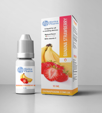 Э-жидкость Divina Pharm Banan Strawberry 0 мг/3 мг/6 мг/12мг/10 мл